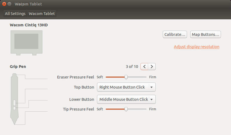 Ubuntu 14.04 Wacom Settings