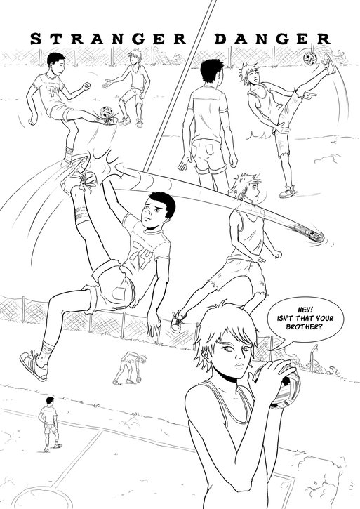 First page of my comic Stranger Danger, available at queertales.com