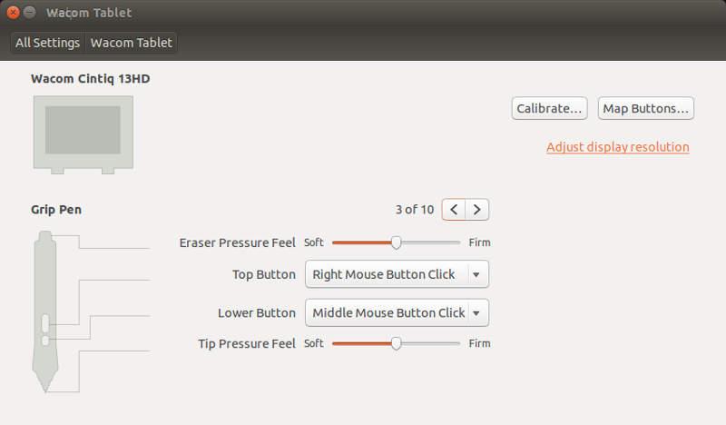 Ubuntu 14.04 Wacom Settings